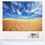 Designart Desert With Exotic Blue Sky Over ModernLandscape Wall Art Triptych Canvas