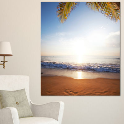 Designart Deserted Beach With Palm Leaves Large Seashore Canvas Print