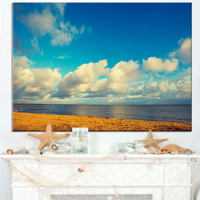 Designart Deserted Brown Sea Coastline Landscape Artwork Canvas