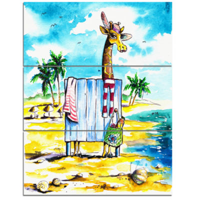 Designart Designart Giraffe In Dressing Room OnBeach Cartoon Animal Print
