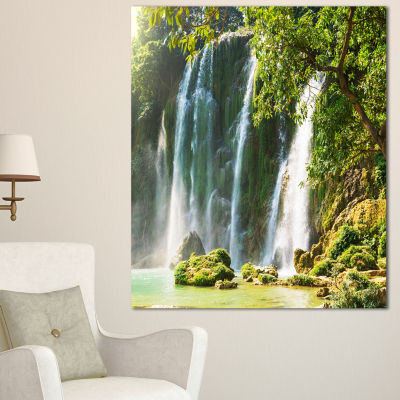 Designart Detian Waterfall In Vietnam Oversized Landscape Canvas Art - 3 Panels