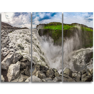 Designart Dettifoss Waterfall Iceland Panorama Landscape Triptych Canvas Art Print