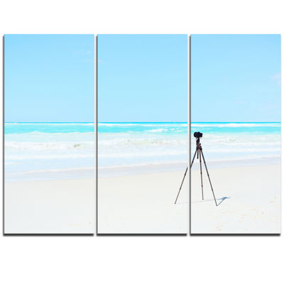 Designart Digital Camera And Tripod On Beach Oversized Landscape Wall Art Print
