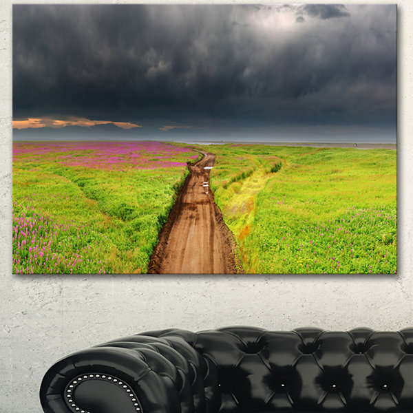Design Art Dirty Road In Blossoming Field LandscapeCanvas Wall Art