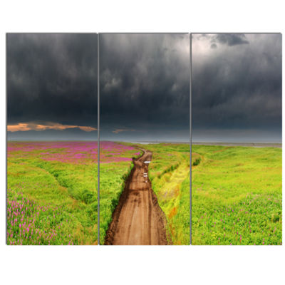 Designart Dirty Road In Blossoming Field LandscapeCanvas Wall Art - 3 Panels