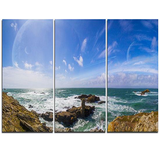 Designart Distant Planet System From Cliffs LargeSeashore Triptych Canvas Print