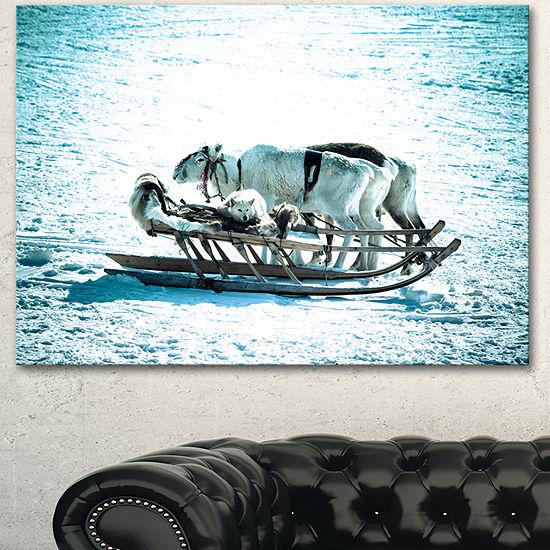 Designart Dogs On Reindeer Sleigh Oversized AnimalWall Art - 3 Panels