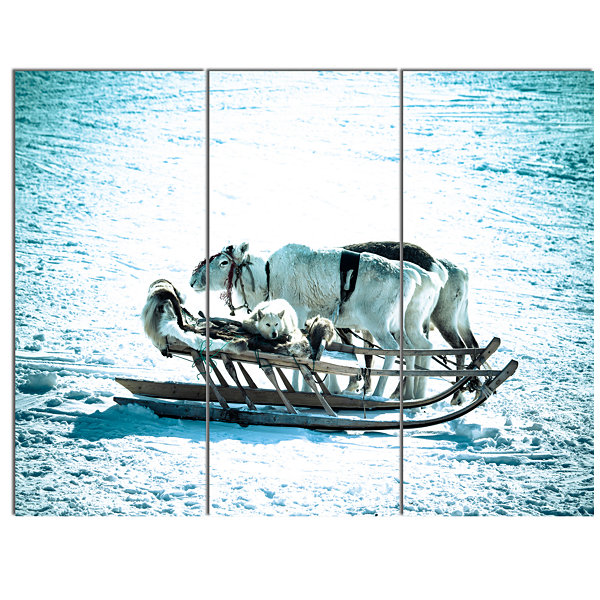 Designart Dogs On Reindeer Sleigh Oversized AnimalWall Art - 3 Panels