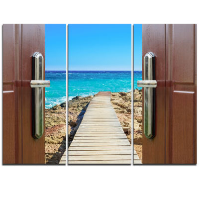Designart Door Open To Wooden Ocean Pier Wooden Sea Bridge Triptych Canvas Wall Art