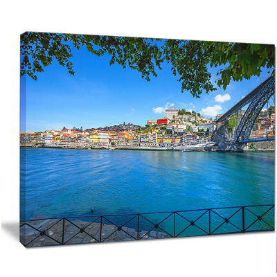 Designart Douro River And Iron Bridge Portugal Extra Large Landscape Canvas Art