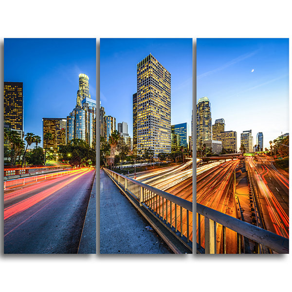 Design Art Downtown La With Traffic Trail CityscapeTriptych Canvas Print