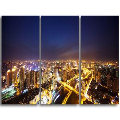 Design Art Downtown Nighttime Panorama Cityscape Triptych Canvas Art Print
