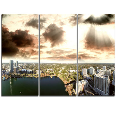Designart Downtown Orlando Sunset Aerial Extra Large Seascape Art Triptych Canvas