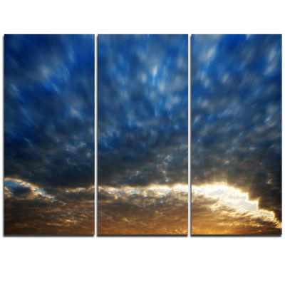 Designart Dramatic Blue And Brown Skies Modern Seascape Triptych Canvas Artwork