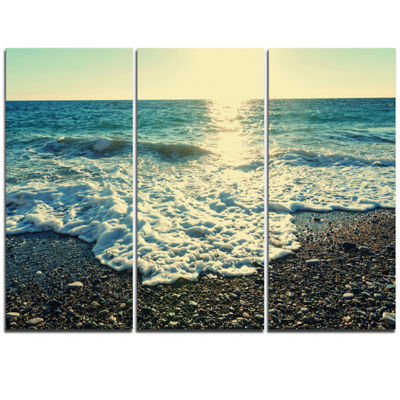 Designart Dramatic Blue Waves On Beach Large Seashore Triptych Canvas Print