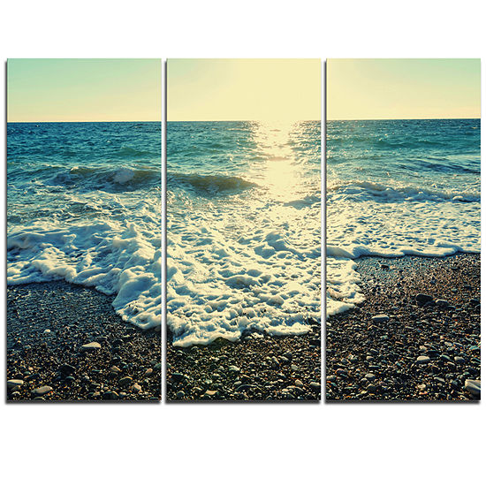 Designart Dramatic Blue Waves On Beach Large Seashore Triptych Canvas Print