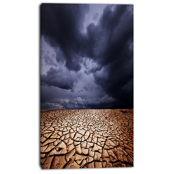 Designart Dramatic Cloudy Sky Over Drought Land Extra Large Landscape Canvas Art