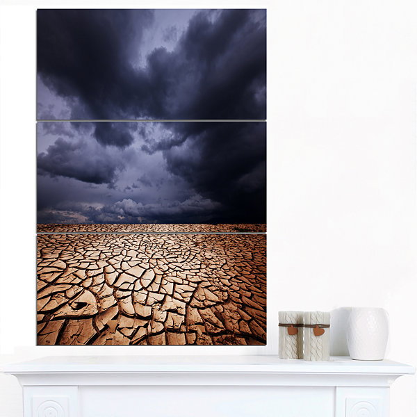 Designart Dramatic Cloudy Sky Over Drought Land Extra Large Landscape Canvas Art - 3 Panels