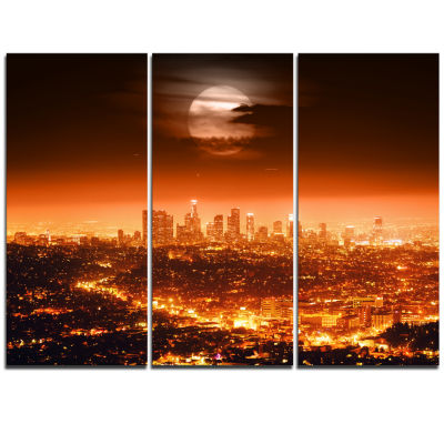 Designart Dramatic Full Moon Over Los Angeles Cityscape Triptych Canvas Print