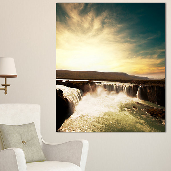 Designart Dramatic Iceland Waterfalls Large Seashore Canvas Print