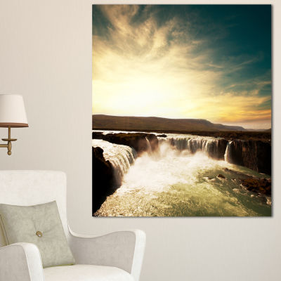 Designart Dramatic Iceland Waterfalls Large Seashore Canvas Print - 3 Panels