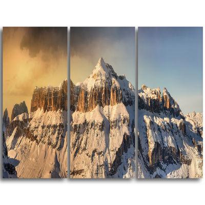 Designart Dramatic Overcast Sky Over Alps Landscape Triptych Canvas Art Print