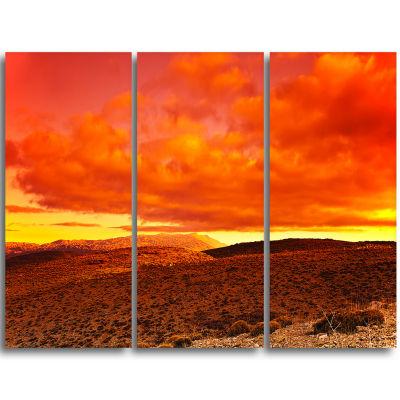 Designart Dramatic Red Sunset At Desert Extra Large Wall Art Landscape