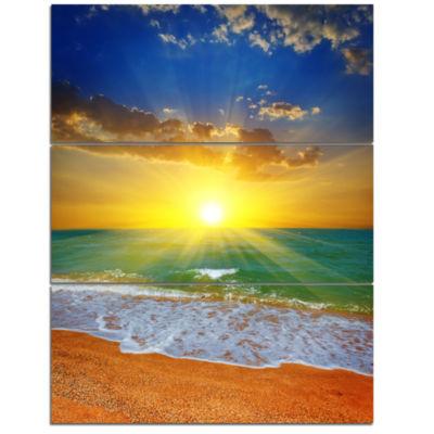 Designart Dramatic Seashore Sky In Yellow Modern Beach Triptych Canvas Art Print