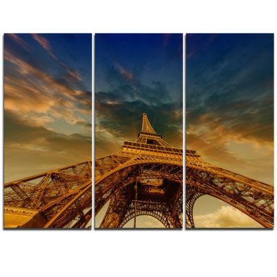 Designart Dramatic Sky Above Paris Paris Eiffel Towerin Paris Cityscape Triptych Canvas Print