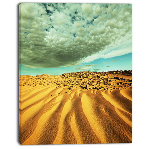 Designart Dramatic Sky Above Sand Desert LandscapeWall Art On Canvas