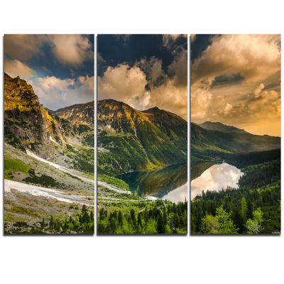 Designart Dramatic Sky Over Alpine Lake LandscapeTriptych Canvas Art Print