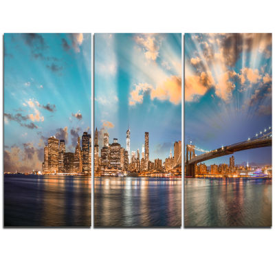 Designart Dramatic Sky Over Manhattan City Cityscape Triptych Canvas Print