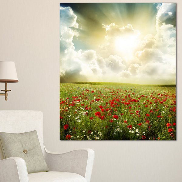 Design Art Dramatic Sky Over Poppy Field Extra Large Landscape Canvas Art