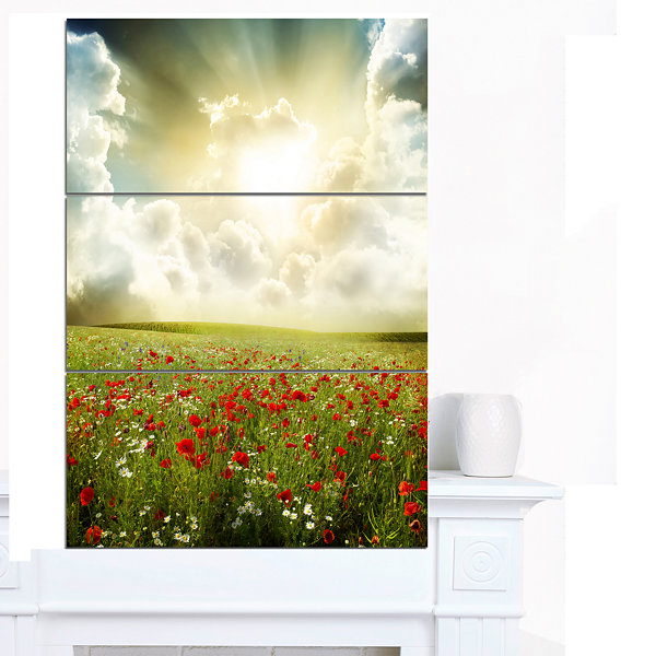 Designart Dramatic Sky Over Poppy Field Extra Large Landscape Canvas Art - 3 Panels