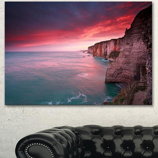 Designart Dramatic Sunrise Over Sea And Cliffs Beach Photo Canvas Print
