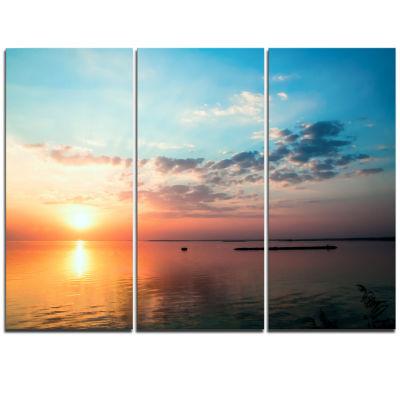 Designart Dramatic Sunset Cloudy Sky Oversized Beach Triptych Canvas Artwork