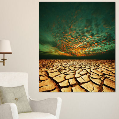 Designart Drought Land Under Blue Sky Oversized Landscape Canvas Art