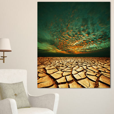 Designart Drought Land Under Blue Sky Oversized Landscape Canvas Art - 3 Panels