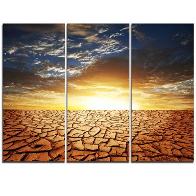 Designart Drought Land Under Bright Sunset ModernLandscape Wall Art Triptych Canvas