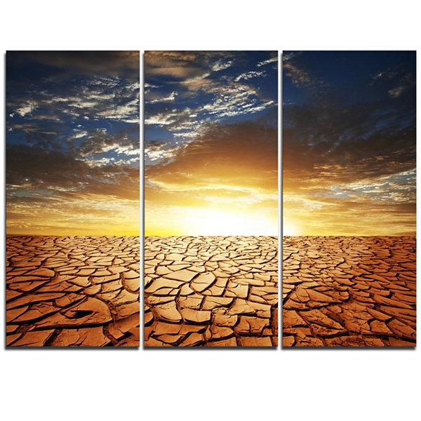 Designart Drought Land Under Bright Sunset ModernLandscape Wall Art ...