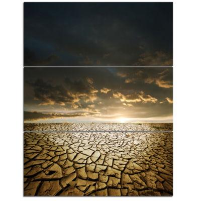 Designart Drought Land Under Cloudy Skies Modern Landscape Wall Art Triptych Canvas