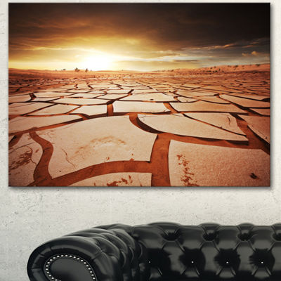 Designart Drought Land Under Dark Skies OversizedAfrican Landscape Canvas Art