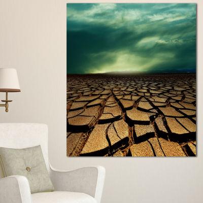 Designart Drought Land Under Dramatic Blue Sky African Landscape Canvas Art Print - 3 Panels