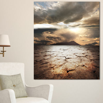 Designart Drought Land With Cloudy Sunset Extra Large Landscape Canvas Art - 3 Panels
