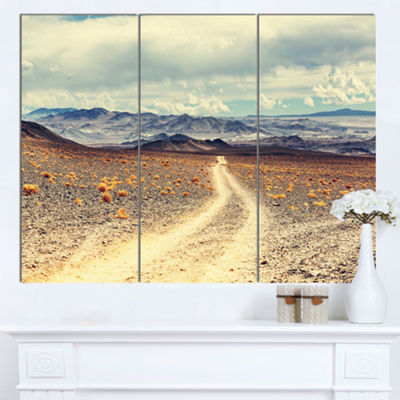 Designart Dry Grass And Mountains In Argentina Oversized Landscape Canvas Art - 3 Panels
