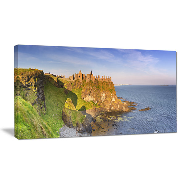 Design Art Dunluce Castle In Northern Ireland LargeSeascape Art Canvas Print