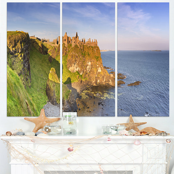 Designart Dunluce Castle In Northern Ireland LargeSeascape Art Triptych Canvas Print