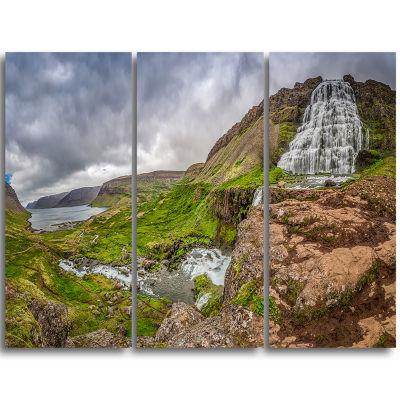 Designart Dyjandi Waterfall Iceland Panorama Landscape Print Wall Artwork
