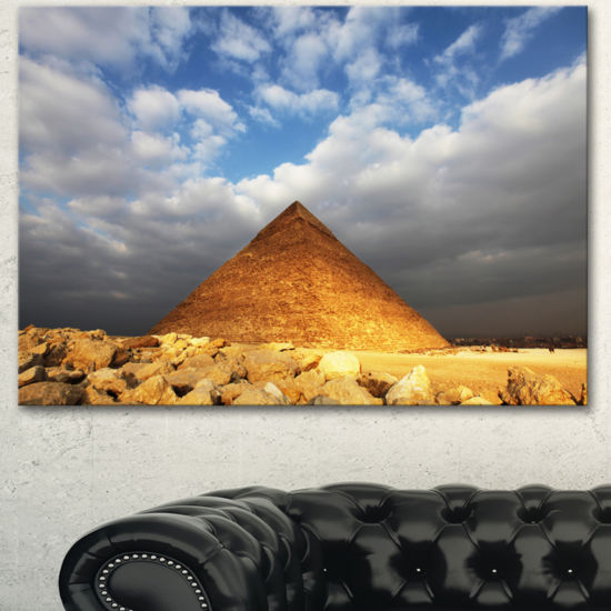 Designart Egyptian Pyramid Under Bright Sky Oversized African Landscape Canvas Art