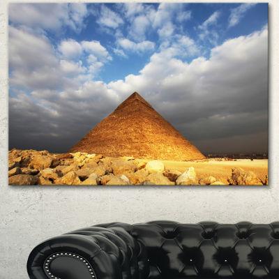 Designart Egyptian Pyramid Under Bright Sky Oversized African Landscape Canvas Art - 3 Panels